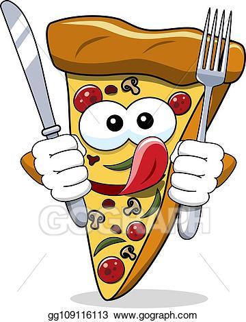 Funny looking pizza clipart clipart transparent download Vector Art - Pizza slice cartoon funny fork knife eating hungry ... clipart transparent download