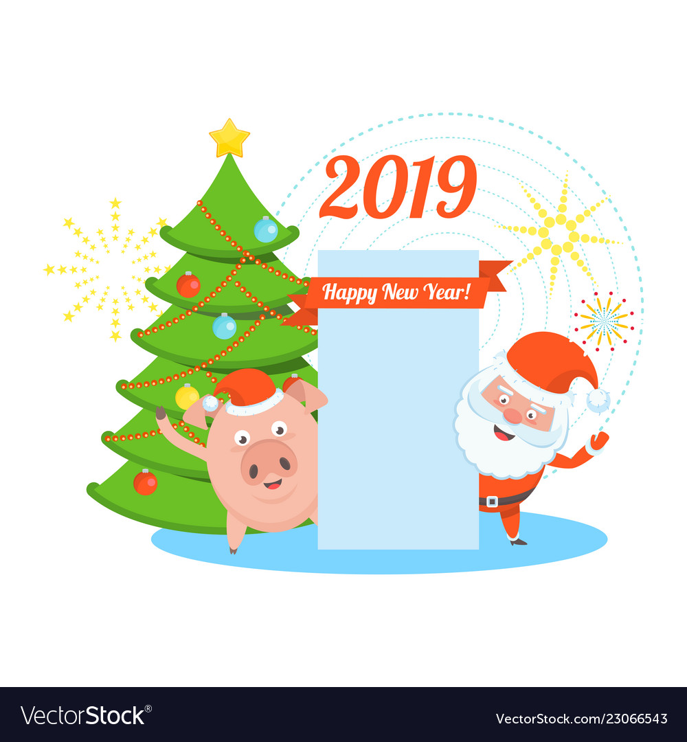 Funny merry christmas clipart png Funny happy santa claus and pig character png