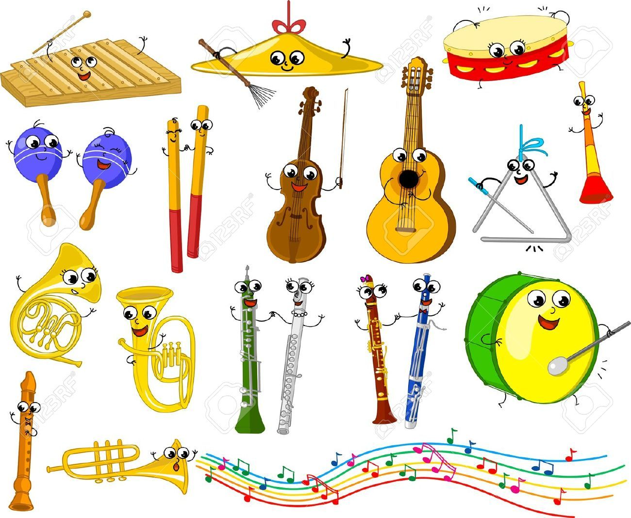 Funny music clipart graphic transparent download Stock Vector | Music | Music for kids, Musical instruments drawing ... graphic transparent download