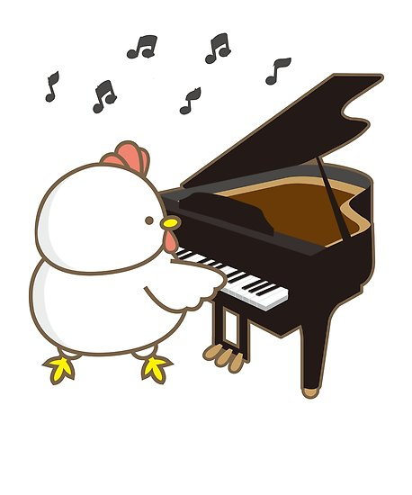 Funny piano clipart picture royalty free library \'Funny Chicken Piano Emoji Cartoon Instrument Art\' Poster by JapaneseInkArt picture royalty free library