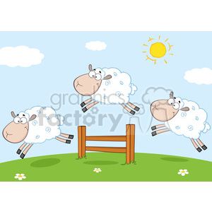 Funny sheep clipart vector freeuse library Royalty Free RF Clipart Illustration Three Funny Sheep Jumping Over A Fence  clipart. Royalty-free clipart # 395298 vector freeuse library