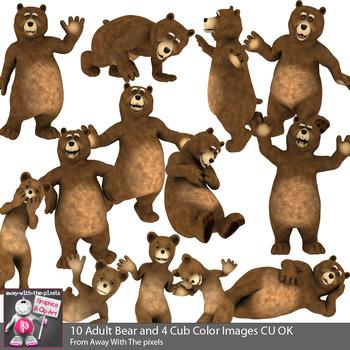Funnybear clipart jpg free library Funny Bear Clip Art - Cartoon Cute Bear and Cub Clipart - 13 Color Images &  BW jpg free library