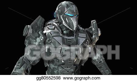 Future soldier clipart clip art black and white stock Stock Illustration - Future soldier. Clipart Drawing gg80552598 ... clip art black and white stock