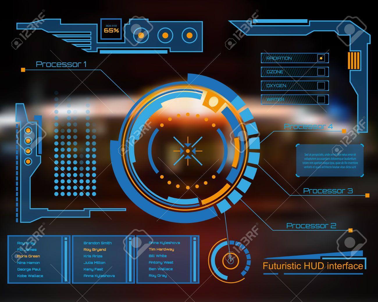 Futuristic computer interface clipart
