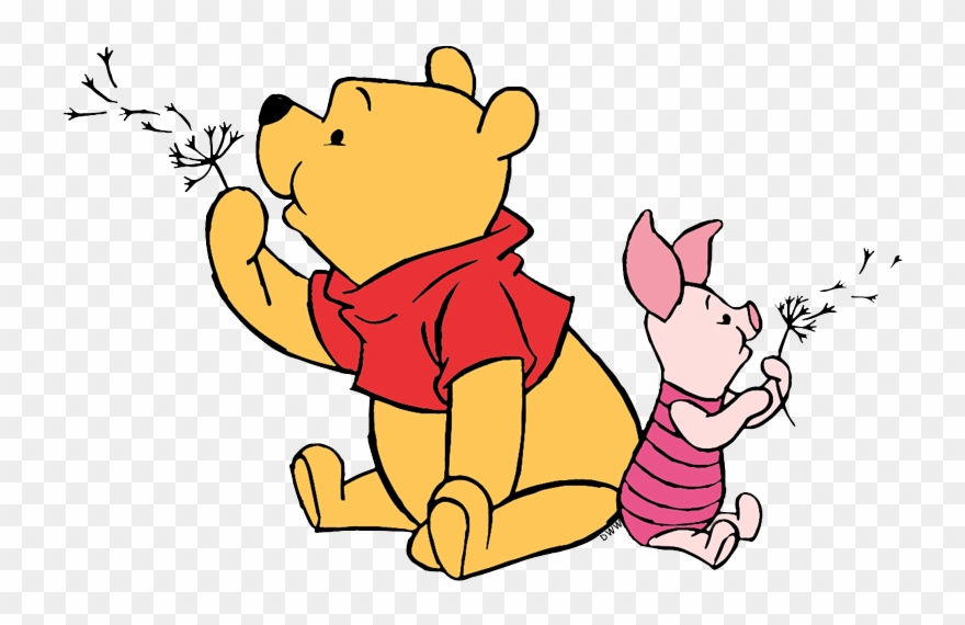 Fuzz clipart graphic freeuse Pooh, Piglet Blowing Dandelion Fuzz - Pooh Blowing A Dandelion ... graphic freeuse