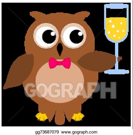 G l clipart black and white stock Vector Art - An owl at a party with champagne gl. Clipart Drawing ... black and white stock