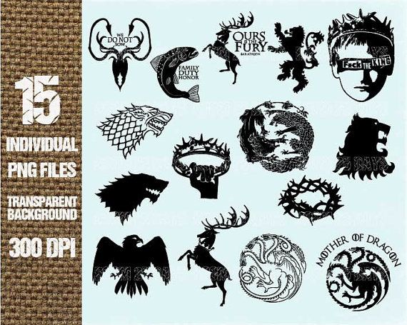 Game of thornes lion clipart image black and white stock 15 Game of thrones element Clipart Digital Graphic by Room25Days ... image black and white stock