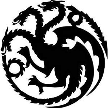 Game of thrones dragon clipart black and white banner black and white Game of Thrones House Targaryen Khaleesi Dragons Logo Vinyl Sticker Decal  HBO for Car Truck Mac (5.5\