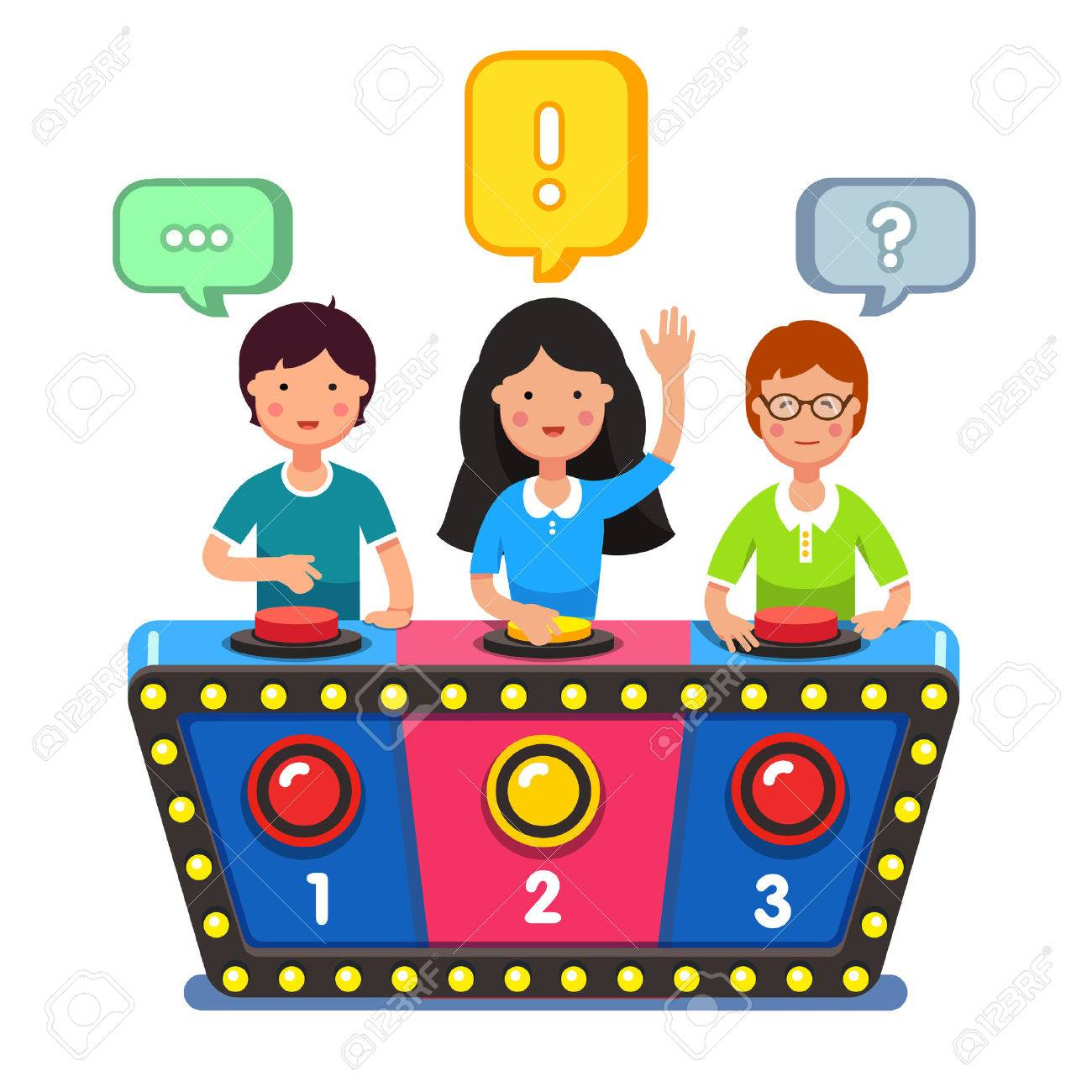 Game show stand clipart clip stock Quiz Show Game Concept Players Answering Questions Standing At ... clip stock