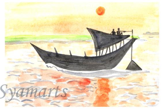 Ganga river clipart clipart transparent minature original watercolor sunset Painting boat on Ganga clipart transparent
