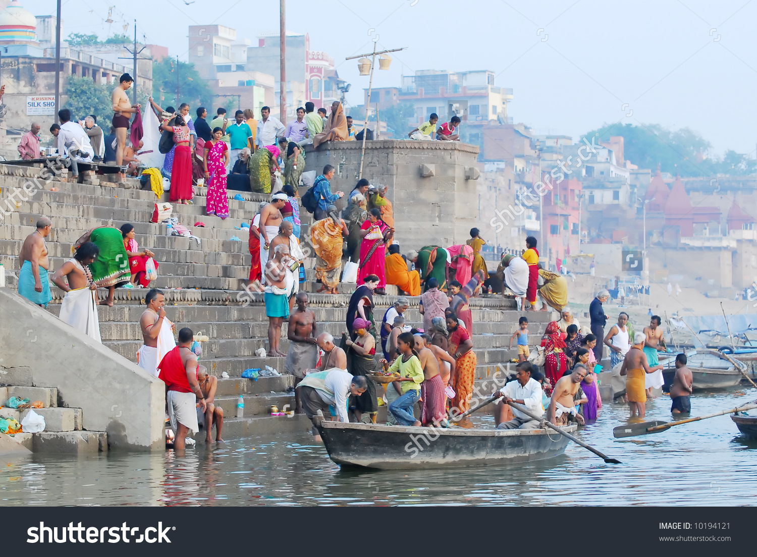Ganga river clipart jpg transparent library Colorful Hindu People Bathing Ganges River Stock Photo 10194121 ... jpg transparent library