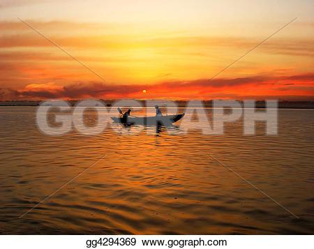 Ganga river clipart clipart black and white download Stock Illustration - Sunrize - ganga river. Clipart Drawing ... clipart black and white download