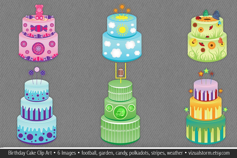 Garden birthday cake clipart jpg black and white stock Birthday Cake Clip Art Illustrations ~ Illustrations on Creative ... jpg black and white stock