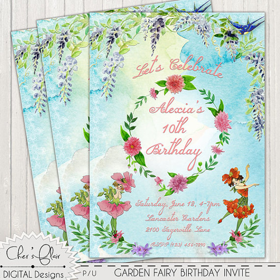 Garden fairy 1st birthday clipart banner freeuse download FAIRY BIRTHDAY PARTY Invitation Garden Fairy by DigitalPackages banner freeuse download