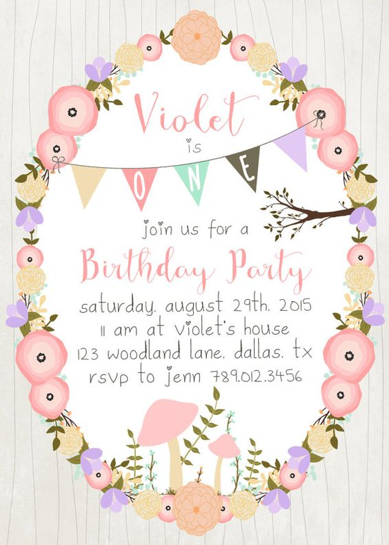 Garden fairy 1st birthday clipart graphic royalty free library Woodland Girl Birthday Party Invitation Printable Download ... graphic royalty free library