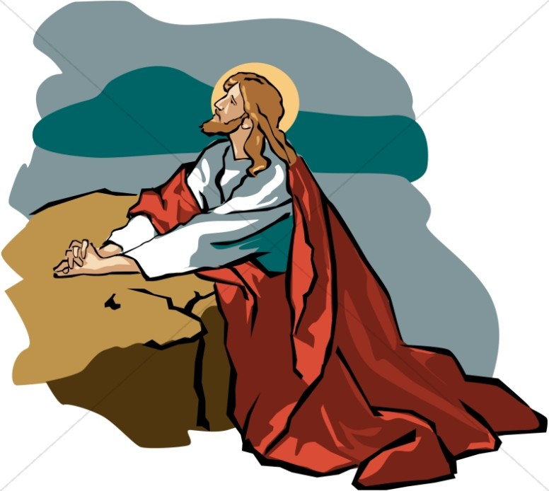 Jesus walking in the garden free clipart clip black and white library Jesus in Gethsemane with Red Robe | Jesus Clipart clip black and white library