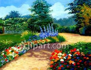 Garden path clipart jpg royalty free Garden Path Through Flowers Royalty Free Clipart Picture jpg royalty free