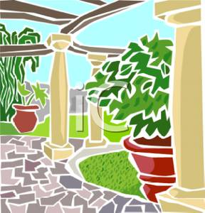 Garden path clipart image freeuse library Flagstone Path Through a Backyard Garden - Royalty Free Clipart Picture image freeuse library