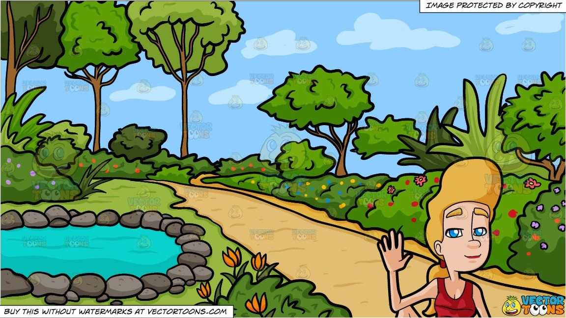 Garden pond clipart freeuse A Woman Doing The Half Lord Of The Fishes Yoga Pose and A Country ... freeuse