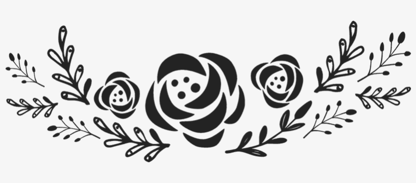 Garland clipart black and white picture free stock Garland With Flowers Rubber Stamp - Black And White Flower Garland ... picture free stock