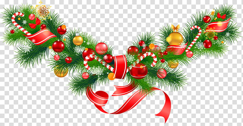 Garlands clipart graphic transparent Christmas Garlands, green, red, and orange Christmas wreath ... graphic transparent