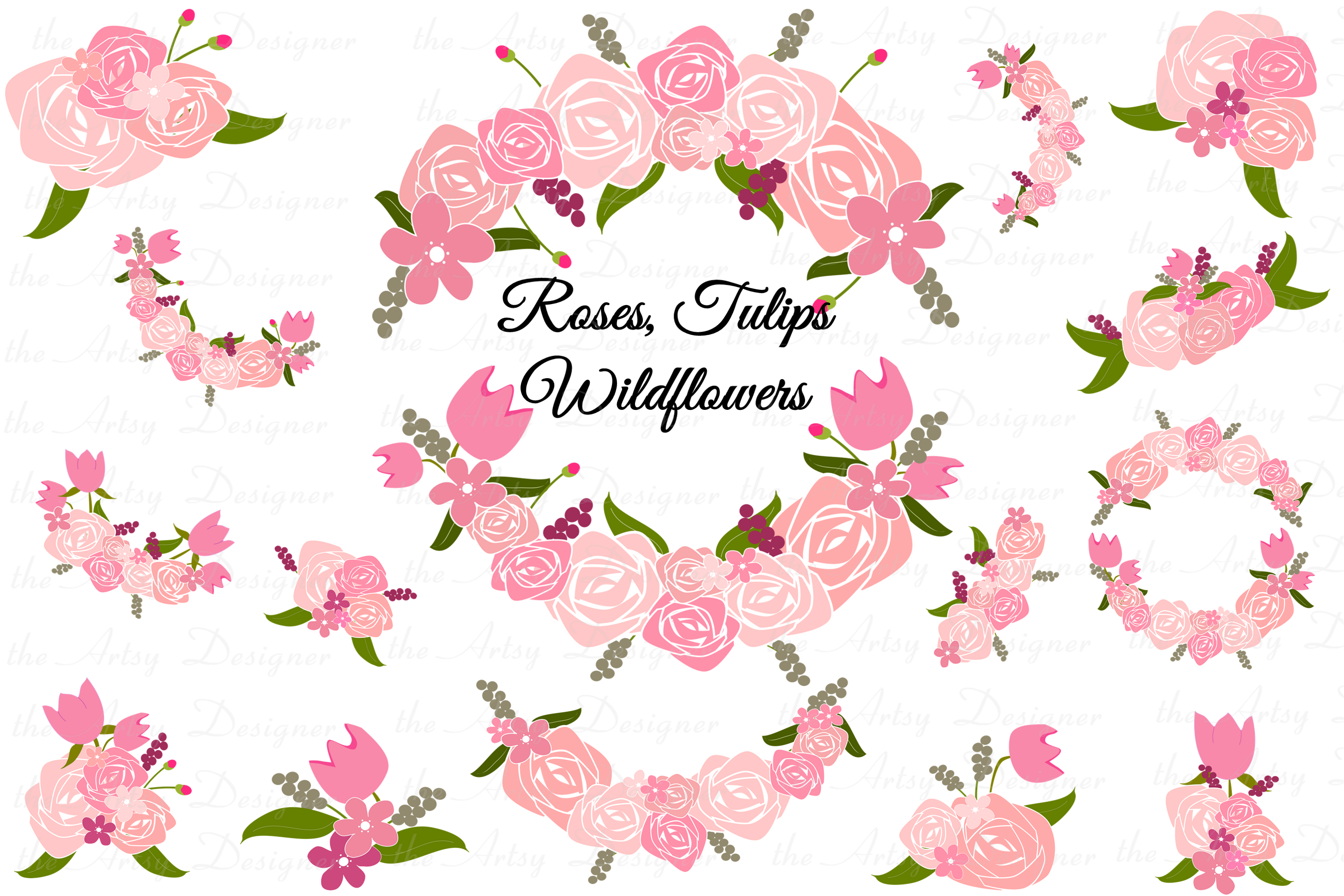 Garlands clipart vector library Pink Roses Tulips Flowers Clipart Swags Garlands Bundle vector library