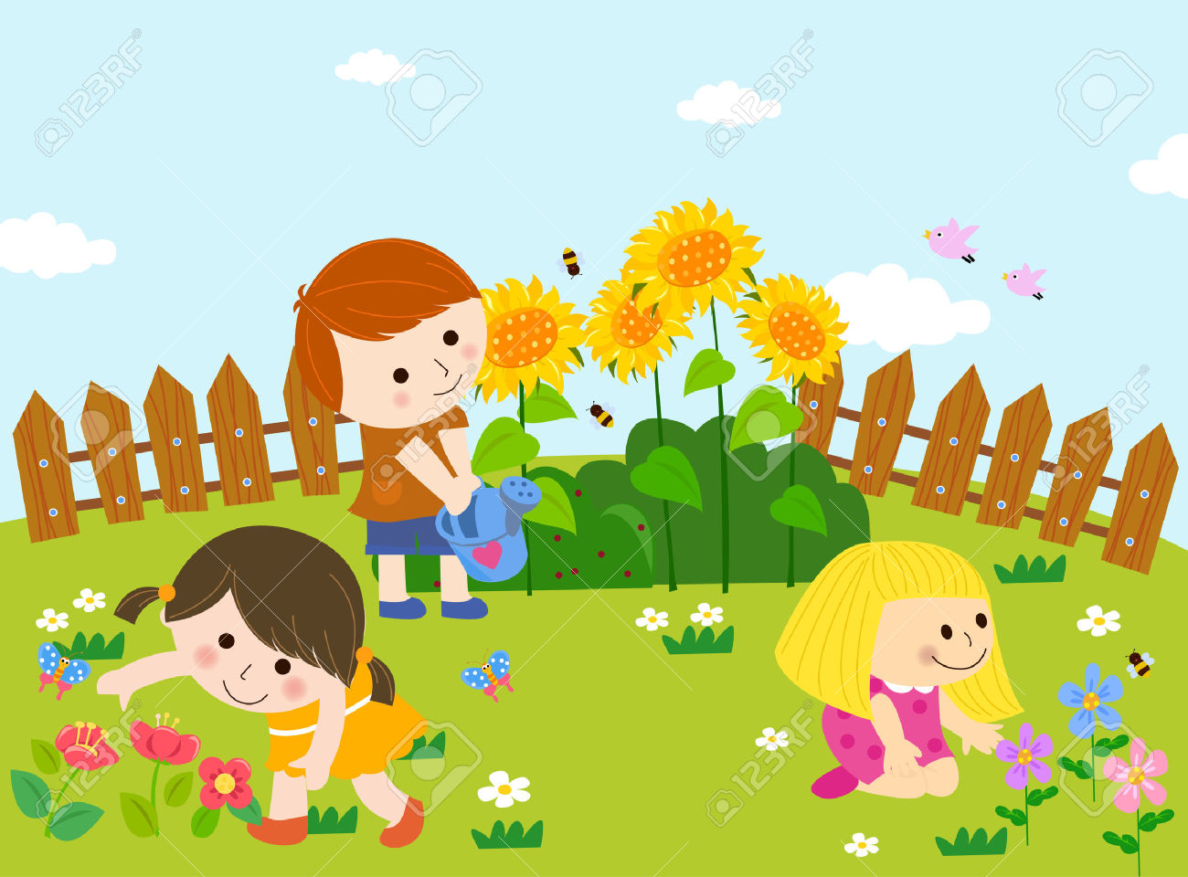 Garten gieen clipart clip royalty free Cute Kids Playing In Garden Royalty Free Cliparts, Vectors, And ... clip royalty free