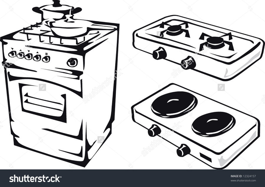 Gas stove clipart black and white vector library download Download stove black and white clipart Cooking Ranges Gas stove Clip art vector library download
