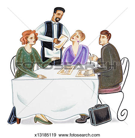 Gast clipart vector freeuse download Stock Illustration of Woman sitting at end of long table with four ... vector freeuse download