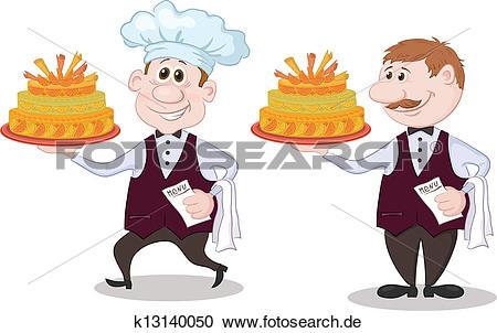 Gastronomie kellner clipart clip art free Clipart - koch, und, kellner, mit, feiertag, kuchen k13140050 ... clip art free