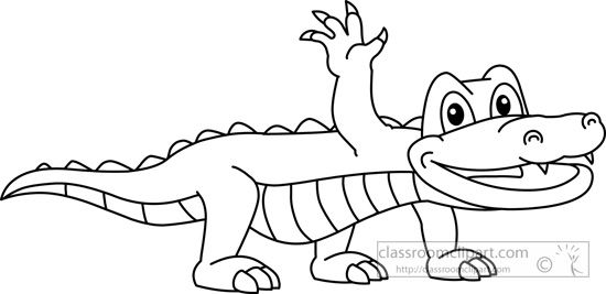 Gator clipart black and white cute svg library library Alligator Outline Animals : alligator-black-white-outline-910 ... svg library library