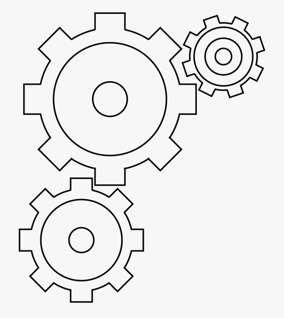 Gear clipart black and white graphic free Three Gears By Ravenhart-stock On Clipart Library - Black And White ... graphic free
