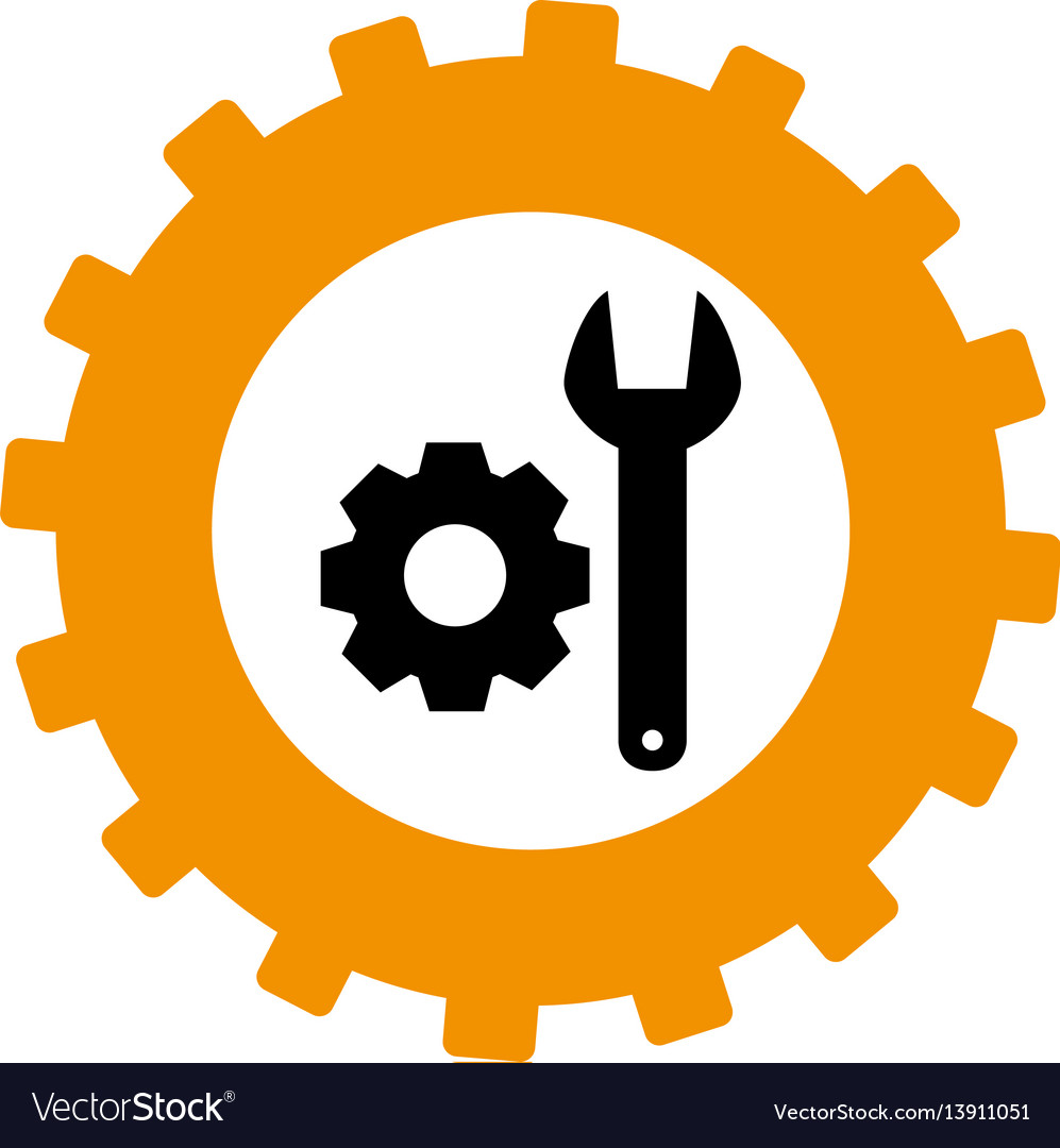 Gear clipart vector wrench free to use library Silhouette in shape of gear with wrench and pinion library