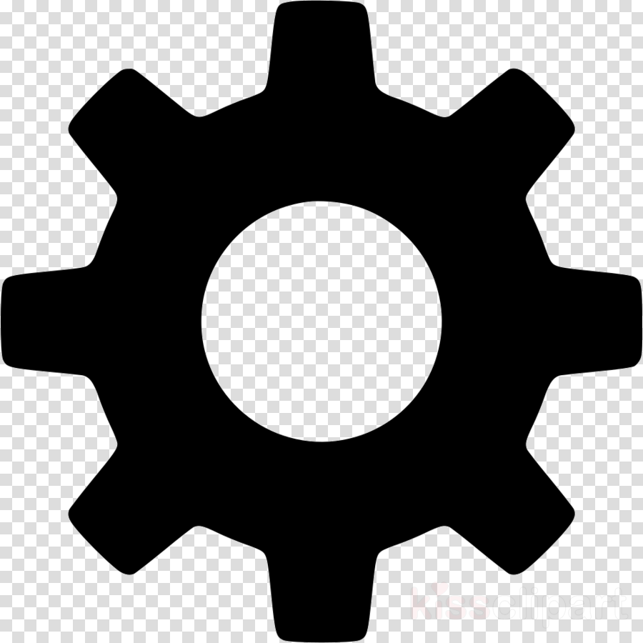 Library of gear wheel icon banner black and white library ...