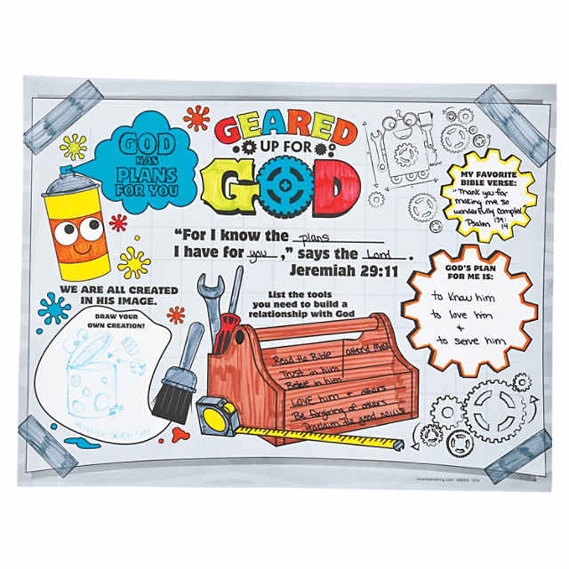 Geared up for god vbs clipart black and white svg library download Color Your Own Geared Up for God VBS Posters - Discontinued svg library download