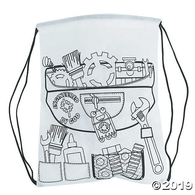 Geared up for god vbs clipart black and white image black and white library Color Your Own Geared Up for God VBS Drawstring Backpacks - Discontinued image black and white library