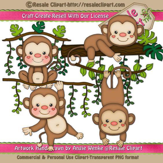 Geburtstag feiern clipart banner freeuse Jungle Monkey Boys Birthday Party Word Art Clipart by TahDahStudio ... banner freeuse