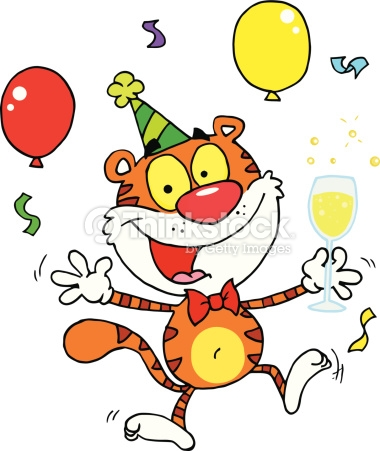 Geburtstag feiern clipart graphic transparent library Happy Tiger In Geburtstagsparty Vektorgrafik | Thinkstock graphic transparent library