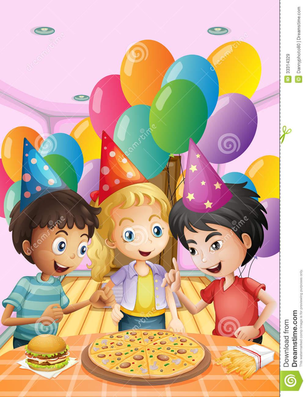 Geburtstag feiern clipart clipart freeuse download Kinder, Die Einen Geburtstag Mit Einer Pizza, Einem Burger Und ... clipart freeuse download