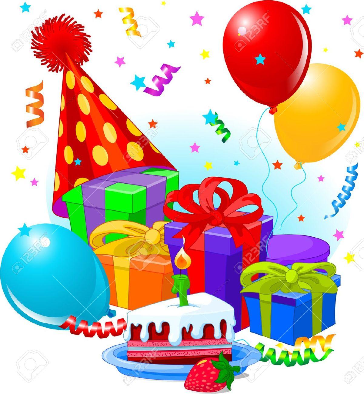 Geburtstag feiern clipart graphic Geburtstagsgeschenke Und Dekoration Bereit Für Geburtstagsparty ... graphic