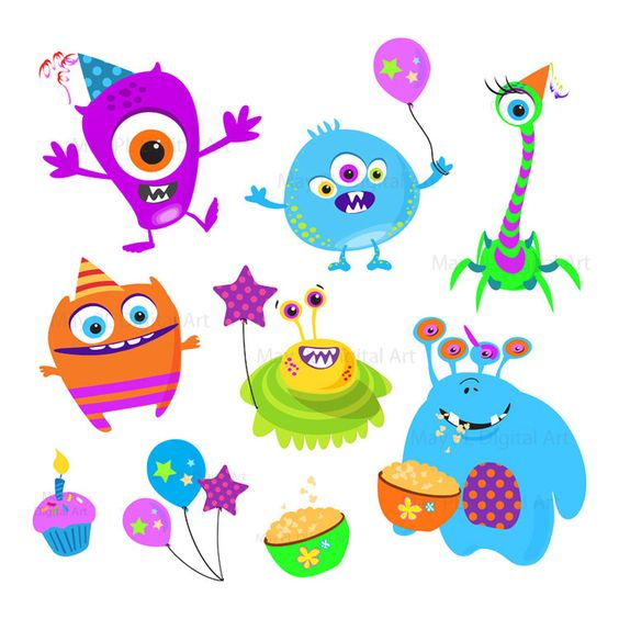 Geburtstag feiern clipart picture freeuse Cute Monster Clipart Kids Birthday Party Digital Little Monster ... picture freeuse