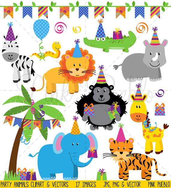 Geburtstag feiern clipart png freeuse download Geburtstag Party Tiere Clipart ClipArt Zoo Safari Dschungel png freeuse download