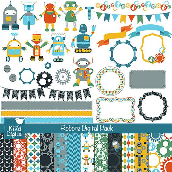 Geburtstag feiern clipart vector free download 60% SALE Robots Digital Clipart and Paper Pack - Scrapbooking ... vector free download