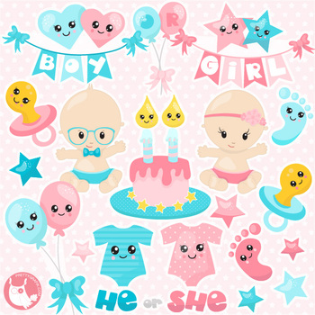 Gender reveal clipart clip art free stock Sale Gender reveal clipart commercial use, vector graphics, digital - CL1142 clip art free stock