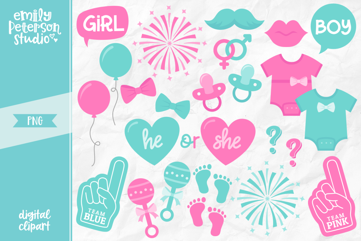 Gender reveal clipart clipart free stock Gender Reveal Clipart Illustration PNG clipart free stock