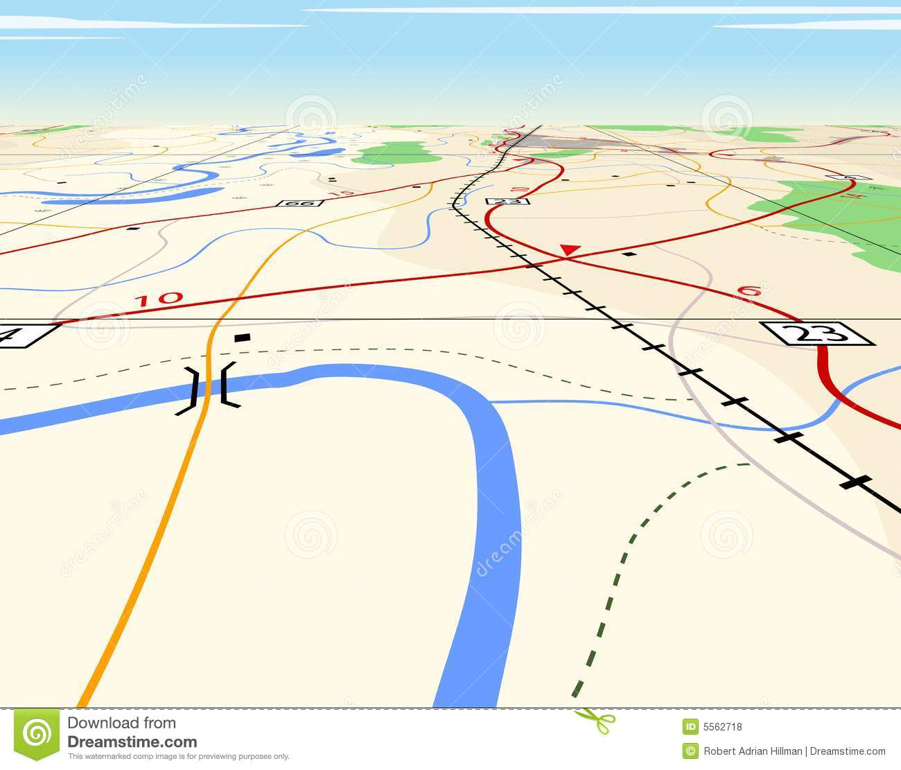 Generic road map clipart picture royalty free Map Perspective Royalty Free Stock Photos - Image: 5562718 picture royalty free