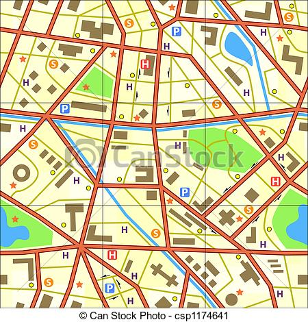 Generic road map clipart svg library download Clipart of Map tile - Seamless tile of a generic city without ... svg library download
