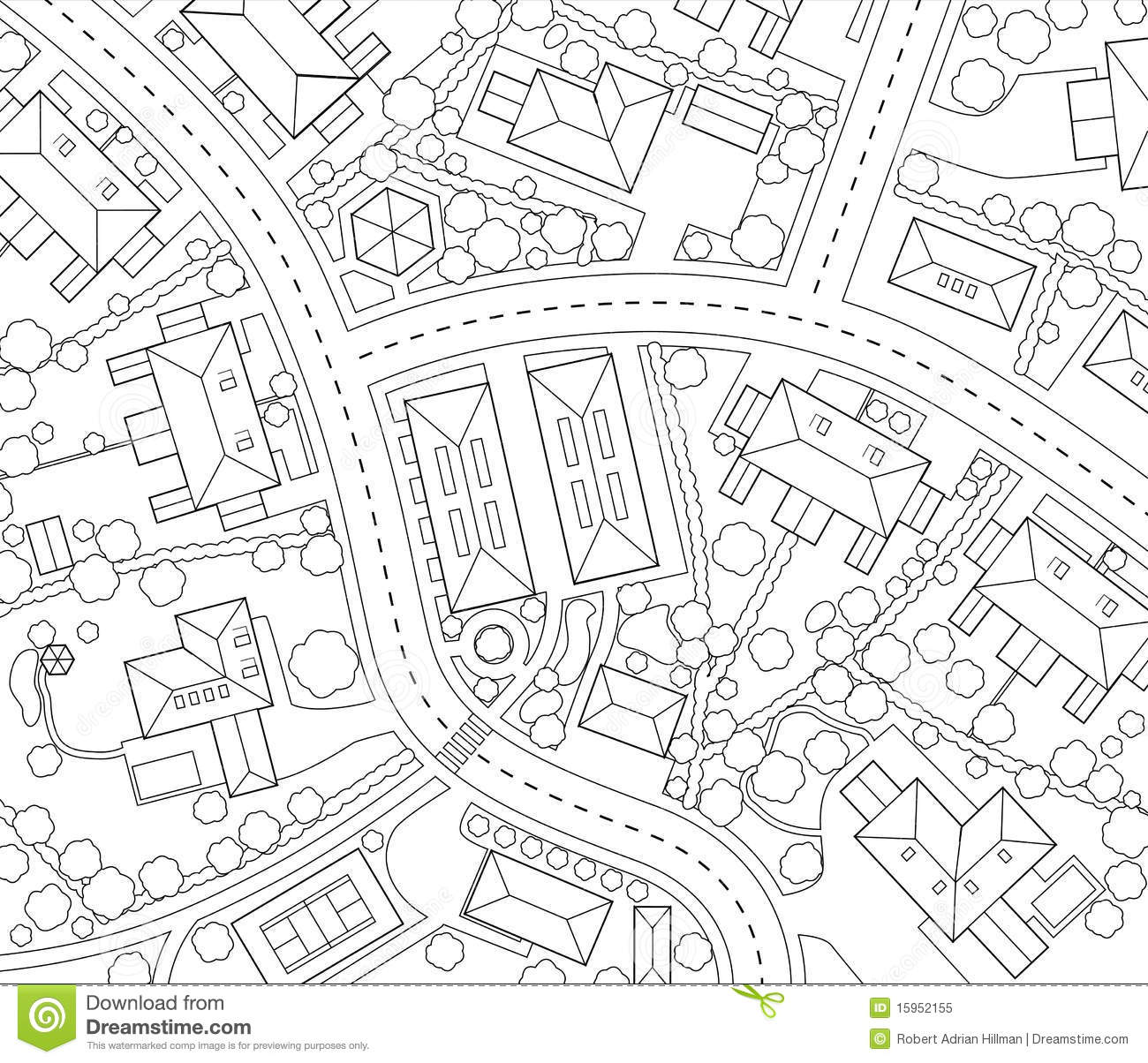 Generic road map clipart vector black and white stock Road map clipart outline - ClipartFest vector black and white stock
