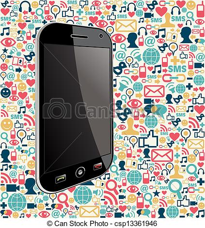 Generic social media clipart graphic black and white EPS Vector of Iphone social media icon background - Smart phone ... graphic black and white