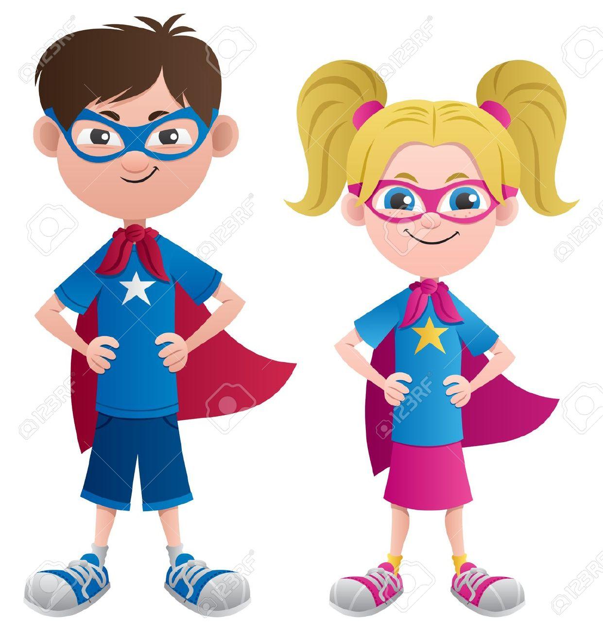 Generic super boy and super girl clipart library Super boy clipart - ClipartFest library